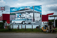 Billboards on Route 66 near Hazellgreen Missouri.