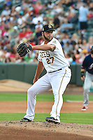 Anthony Lerew (27) of the Salt Lake Bees delivers a pitch to the plate against the Reno Aces in Pacific Coast League action at Smith's Ballpark on July 24, 2014 in Salt Lake City, Utah.  (Stephen Smith/Four Seam Images)