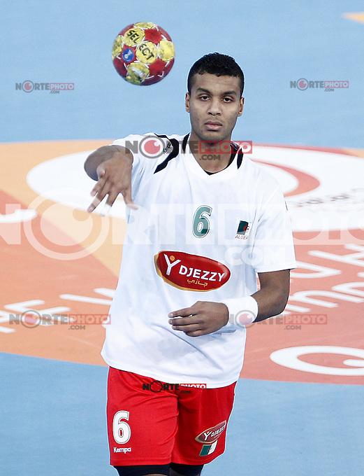 Algeria's Messaoud Berkous during 23rd Men's Handball World Championship preliminary round match.January 17,2013. (ALTERPHOTOS/Acero) /NortePhoto
