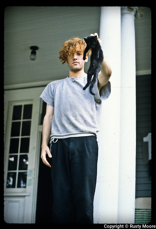 Michael Stipe of R.E.M. and friend at home. Athens, GA 1981.