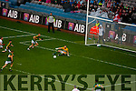 Brendan Kealy, Kerry saves a shot  Against  Tyrone in the All Ireland Semi Final at Croke Park on Sunday.