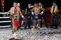 Moscow, Russia, 05/06/2010..Batu Khasikov speaks to the crowd after defeating Ricardo Fernandes in a world championship kickboxing bout during the new Fight Nights boxing tournament.