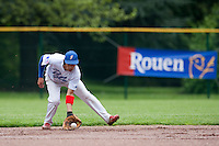 29 April 2009: Thomas Medina takes infield practice during the first of six 2009 MLB European Academy Try-out Sessions throughout Europe, at Stade Pierre Rolland, in Rouen, France. Try-out sessions are run by members of the Major League Baseball Scouting Bureau with assistance from MLBI staff.