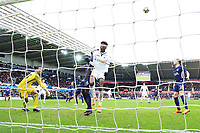 Tammy Abraham of Swansea misses a header as he finds himself in free space in the box as Michel Vorm of Tottenham Hotspur watches on during the Fly Emirates FA Cup Quarter Final match between Swansea City and Tottenham Hotspur at the Liberty Stadium, Swansea, Wales, UK. Saturday 17 March 2018
