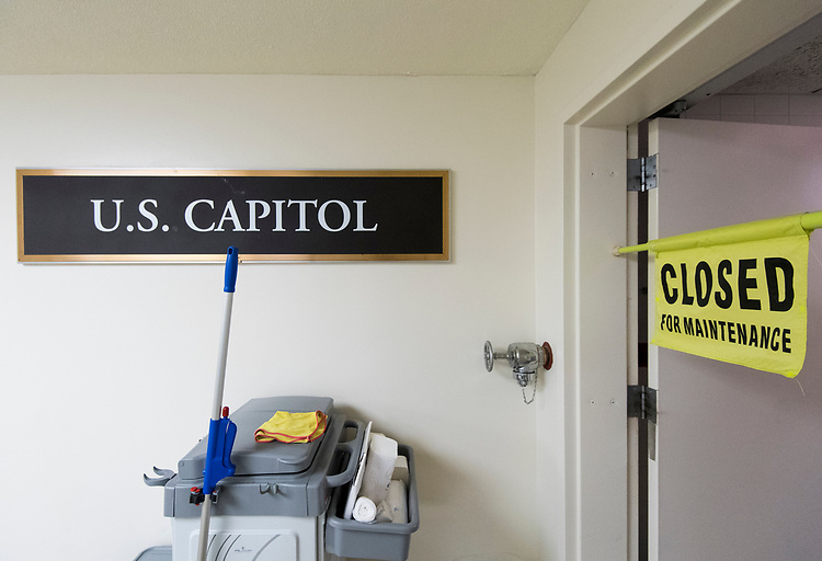 "UNITED STATES - AUGUST 7: A temporary ""closed for maintenance"" sign hangs in the doorway to the women's restroom by the Senate subway entrance to the Capitol during recess on Tuesday, Aug. 7, 2018. (Photo By Bill Clark/CQ Roll Call)"