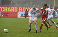 20190409  - Tubize , BELGIUM : Swiss Seraina Piubel (R) and Finland's Sanni Ojanen (L) pictured during the soccer match between the women under 19 teams of Switzerland and Finland , on the third matchday in group 2 of the UEFA Women Under19 Elite rounds in Tubize , Belgium. Tuesday 9 th April 2019 . PHOTO DIRK VUYLSTEKE / Sportpix.be