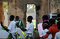 SOUTH SUDAN  Bahr al Ghazal region , Lakes State, town Rumbek, sunday mass at catholic church without roof which was destroyed in civil war between SPLA and North Sudan