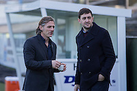 Wycombe Wanderers manager Gareth Ainsworth and press officer Matt Cecil ahead of the Sky Bet League 2 match between Plymouth Argyle and Wycombe Wanderers at Home Park, Plymouth, England on 26 December 2016. Photo by Mark  Hawkins / PRiME Media Images.