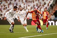 6th November 2019; Estadio Santiago Bernabeu, Madrid, Spain; UEFA Champions League Football, Real Madrid versus Galatasaray; Ryan Babel (Gal) takes on Raphael Varane (Real Madrid) - Editorial Use