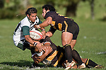 Junior Slade is taken to ground by Spoon Masters & T. Niha. Counties Manukau Premier Club Rugby game between Bombay & Manurewa played at Bombay on Saturday June 14th 2008..Bombay won 19 - 12 after leading 12 - 0 at halftime.
