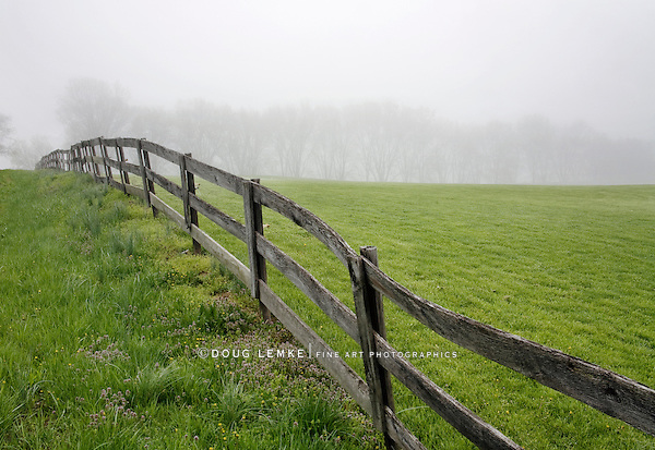 Fence Line, Field And Fog, Pastoral Scene