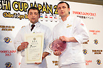 "March 8, 2013, Chiba, Japan - Staff of the restaurant ""Fanconi"" from Moldova receive the ""Gold Sushi Restaurant Award"" at the World Sushi Cup Japan 2013, Restaurant Competition in Makuhari. Word's top class Sushi Chefs from overseas and Japan attend the ""World Sushi Cup Japan 2013"" to show their creativity and inspiration for making sushi. The competition evaluates the sanitary and quality control management and methods as well as localizing taste and design. The contest was held fist time ever in conjunction with FOODEX Japan 2013. (Photo by Rodrigo Reyes Marin/AFLO).."
