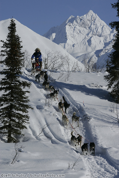 Bjornar Anderson of Norway comes down an embankment onto Puntilla Lake about a mile from the Rainy Pass checkpoint.