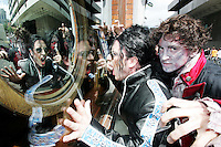 NO REPRO FEE. 19/6/2010. MAN IN THE MIRROR Flash Mob. Irelands leading Michael Jackson impersonator Anthony Walker and zombies are pictured at the Central Bank, Dame St, Dublin recreating the classic Thriller video MAN IN THE MIRROR a musical tribute to Michael Jackson returns in June for 'The Anniversary Tour' with a special show dedicated to the 'King of Pop'. Opening night is on Michael's first anniversary June 25th at Dublin's Olympia Theatre. Tickets are on sale now priced EUR25.00 inclusive of booking fee. Picture James Horan/Collins Photos