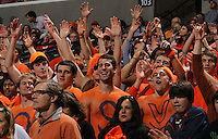 Virginia Cavalier fans react during the game against North Carolina in Charlottesville, Va. North Carolina defeated Virginia 54-51.