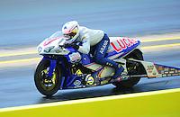 Sept. 24, 2011; Ennis, TX, USA: NHRA pro stock motorcycle rider Hector Arana Jr during qualifying for the Fall Nationals at the Texas Motorplex. Mandatory Credit: Mark J. Rebilas-