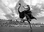 VIRGINIA CITY, NV - SEPTEMBER 12:   A kid rides an ostrich during the 50th Annual Virginia City International Camel Races at the Virginia City Camel Arena on September 12, 2009 in Virginia City, Nevada. He finished second in the heat, and his mother Karla Burrell, was last year's overall winner (Photo by Donald Miralle)