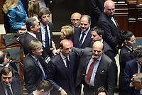 Roma, 18 Aprile 2013.Camera dei Deputati.Votazione del Presidente della Repubblica a camere riunite.Abbraccio tra PierLuigi Bersani e Angelino Alfano
