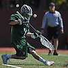 Liam Donnelly #21, Yorktown goalie, turns away a shot during the fourth quarter of a non-league varsity boys lacrosse game against host Chaminade High School on Saturday, Apr. 23, 2016. He made 16 saves. Chaminade won by a score of 8-4.