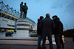 Fans gathering at the statue to former managers Brian Clough and Peter Taylor outside the ground before Derby County played Stoke City in an EFL Championship match at Pride Park Stadium. Opened in 1997, it is the 16th-largest football ground in England and the 20th-largest stadium in the United Kingdom. The fixture ended in a 0-0 draw watched by a crowd of 25,685.