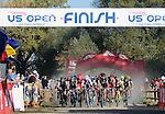 October 17, 2015 - Boulder, Colorado, U.S. - The men's elite field race for position during the U.S. Open of Cyclocross, Valmont Bike Park, Boulder, Colorado.