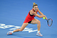January 27, 2018: Number one seed Simona Halep of Romania in action in the Women's Final against number two seed Caroline Wozniacki of Denmark on day thirteen of the 2018 Australian Open Grand Slam tennis tournament in Melbourne, Australia. Photo Sydney Low