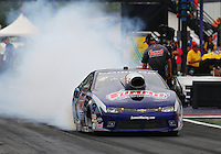 Apr 24, 2015; Baytown, TX, USA; NHRA pro stock driver Jason Line during qualifying for the Spring Nationals at Royal Purple Raceway. Mandatory Credit: Mark J. Rebilas-