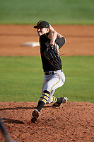 Bristol Pirates relief pitcher John O'Reilly (50) delivers a pitch during the first game of a doubleheader against the Bluefield Blue Jays on July 25, 2018 at Bowen Field in Bluefield, Virginia.  Bluefield defeated Bristol 6-3.  (Mike Janes/Four Seam Images)
