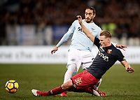 Calcio, Serie A: Lazio - Genoa, Roma, Stadio Olimpico, 5 Febbraio 2018. <br /> Lazio's Martin Caceres (l) in action with Oscar Hiljemark (r) during the Italian Serie A football match between Lazio and Genoa at Rome's Stadio Olimpico, February 5, 2018.<br /> UPDATE IMAGES PRESS/Isabella Bonotto