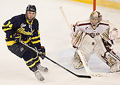 Kyle Singleton (Merrimack - 14), Parker Milner (BC - 35) - The Boston College Eagles defeated the Merrimack College Warriors 4-2 to give Head Coach Jerry York his 900th collegiate win on Friday, February 17, 2012, at Kelley Rink at Conte Forum in Chestnut Hill, Massachusetts.