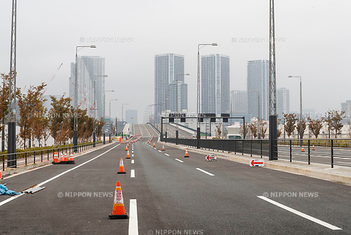 A general view of the avenues close to the new Tokyo Metropolitan Central Wholesale Market in Toyosu on October 11, 2018, Tokyo, Japan. The new fish market replaces the famous Tsukiji Fish Market which closed for the last time on Saturday 6th October. The move to Toyosu was delayed for almost 2 years because of fears over toxins found in water below the new market. (Photo by Rodrigo Reyes Marin/AFLO)
