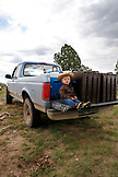 USA, Wyoming, Encampment, a little boy in a cowboy hat sits on the back of a pickup truck, Big Creek Ranch