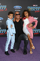 """19 April 2017 - Hollywood, California - Vin Diesel, Hania Riley Sinclair, Vincent Sinclair. Premiere Of Disney And Marvel's """"Guardians Of The Galaxy Vol. 2"""" held at Dolby Theatre. Photo Credit: PMA/AdMedia"""