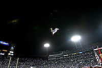 December 05, 2011:   Jacksonville Jaguars mascot Jaxson De Ville flies over the stadium in lieu of a jet flyover prior to the start of action between the Jacksonville Jaguars and the San Diego Chargers played at EverBank Field in Jacksonville, Florida.  ........