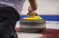 Glasgow. SCOTLAND.  The Grip on the &quot;Stone&quot;,  during  the &quot;Round Robin&quot; Game.  Scotland vs Russia,  Le Gruy&egrave;re European Curling Championships. 2016 Venue, Braehead  Scotland<br /> Thursday  24/11/2016<br /> <br /> [Mandatory Credit; Peter Spurrier/Intersport-images]
