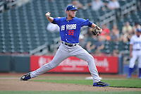 Noah Syndergaard #55 of the Las Vegas 51s pitches against the Omaha Storm Chasers at Werner Park on August 17, 2014 in Omaha, Nebraska. The Storm Chasers  won 4-0.   (Dennis Hubbard/Four Seam Images)