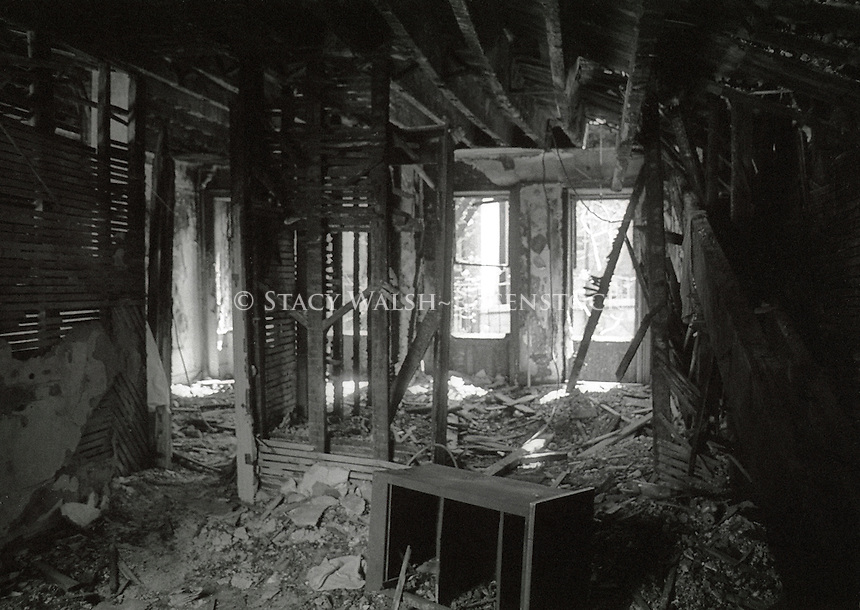 New York, NY 1 May 1987 - East Village Squat. Second floor interior of an abandoned tenement building on East Eighth Street. There was no heat, hot water, or staircase. Squatters had installed a ladder to climb up to the second floor.