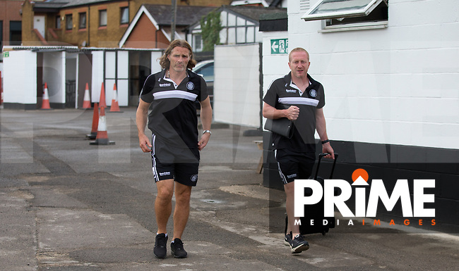 Wycombe Wanderers Manager Gareth Ainsworth & Wycombe Wanderers Assistant Manager Richard Dobson arrive pre match during the 2018/19 Pre Season Friendly match between Maidenhead United and Wycombe Wanderers at York Road, Maidenhead, England on 27 July 2018. Photo by Kevin Prescod.