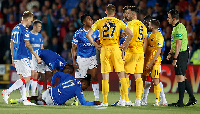 25.09.2018 Livingston v Rangers: Joe Aribo with a head knock and bleeding on the plastic pitch