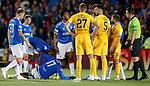 25.09.2018 Livingston v Rangers: Joe Aribo with a head knock and bleeding on the plastic pitch