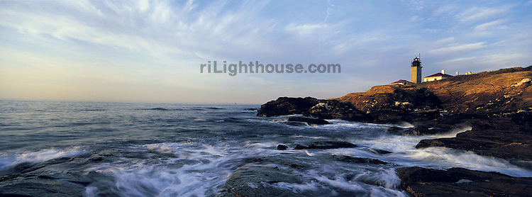 The Beavertail Lighthouse at the southern tip of Conanicut Island (Jamestown) is the only lighthouse on the island. The rocky coastline surrounding the light is indicative of the few big rocks that peek out of the ocean swell and pose a hazard to mariners.