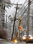GOSHEN, CT - 30 DECEMBER 2019 - 123019JW04.jpg --  Eversource and state crews work to repair a damaged pole that caused a power outage near Action Wildlife during the ice storm that moved through the area Monday morning. Jonathan Wilcox Republican-American