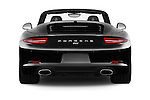Straight rear view of 2016 Porsche 911 Black Edition 2 Door convertible Rear View  stock images