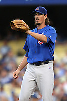 Jeff Samardzija # 29 pitches against the Los Angeles Dodgers at Dodger Stadium on August 3, 2012 in Los Angeles, California. Los Angeles defeated Chicago 6-1. (Larry Goren/Four Seam Images)