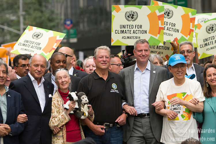 Many celebrities joined the Peoples Climate March in New York city. Including, 2nd from left, Jane Goodall, Al Gore, Bill de Blasio and Ban Ki-Moon. More than 300,000 march in solidarity for Climate accountability, at the People's Climate March on September 21, 2014. (Credit: Robert van Waarden)