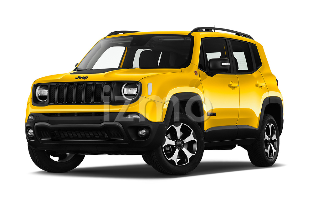 Stock pictures of low aggressive front three quarter view of 2019 JEEP Renegade Trailhawk 5 Door SUV Low Aggressive