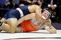 STATE COLLEGE, PA - FEBRUARY 16: Morgan McIntosh of the Penn State Nittany Lions during a 197 pound match against Kyle Crutchmer of the Oklahoma State Cowboys on February 16, 2014 at Rec Hall on the campus of Penn State University in State College, Pennsylvania. Penn State won 23-12. (Photo by Hunter Martin/Getty Images) *** Local Caption *** Morgan McIntosh;Kyle Crutchmer