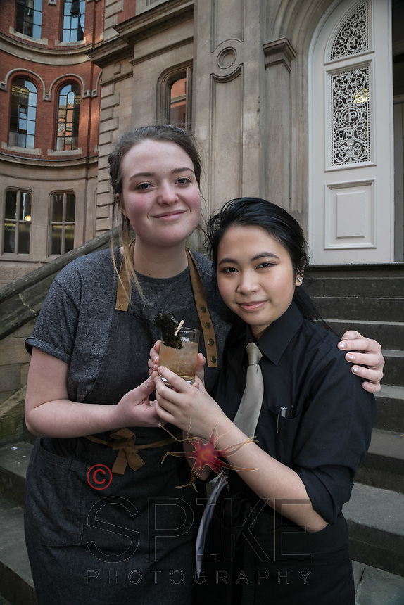 The Ruddington Arms Mixologist Grace Bond (left) with student Marianne Loa and a Seaweed Sour cocktail