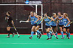 20 NOV 2011:  The University of North Carolina celebrates a goal by Elizabeth Stephens (17)against the University of Maryland during the Division I Women's Field Hockey Championship between Maryland and North Carolina was held at Trager Stadium on the University of Louisville campus in Louisville, KY. Maryland defeated North Carolina 3-2 in overtime to win the national title. Jonathan Palmer/ NCAA Photos