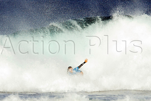 April 2nd 2017, Margaret River,  Perth, Western Australia;   The Drug Aware Margaret River Pro Surfing Competition; Johanne Defay (USA) gets swamped by a wave during her heat against Malia Manuel (HAW) on day 5; Manuel won the heat